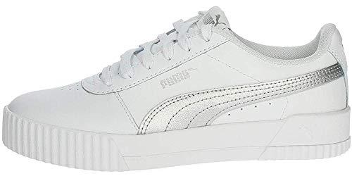 Puma Damen Carina L Sneaker, Weiß Silber Weiß, 39 EU