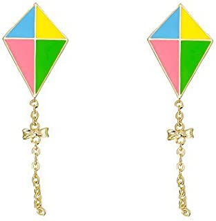 Lily Nily Jewelry for Girls - Kite Stud Earrings - 18k Gold Plated with Enamel and Dangling Chain