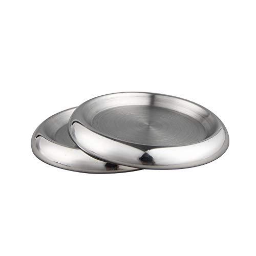 IMEEA Untersetzer Rund 2er Pack SUS304 Edelstahl Getränkeuntersetzer Glasuntersetzer Kerzenhalter rund Untersetzer für Tasse Glas Flasche Bier Kaffe Tee Metallic Kerzenhalter (2 Stück Set)