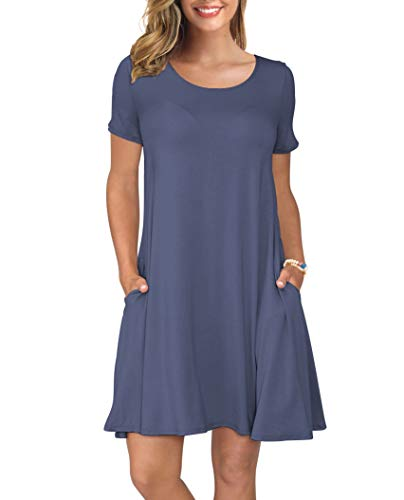 KORSIS Women's Summer Casual T Shirt Dresses Swing Dress PurpleGray XXXL