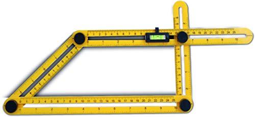 Templater Zollstock Winkelfunktion mit Wasserwaage | Schmiege mit Winkelmesser | Verstellbarer Winkel | Ideal für Laminatschneider & Winkelschleifer