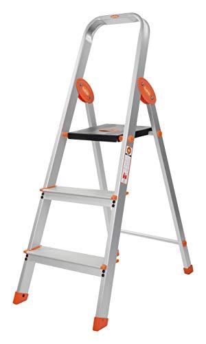 Bathla Advance Carbon - 3 Step Foldable Aluminium Ladder with Scratch Resistant Smart Platform and Sure-Hinge Technology (Orange)