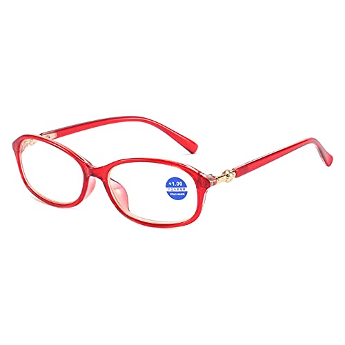 CHENPENG Gafas de Lectura para Mujeres y Hombres, lectores con bisagras de Resorte, Gafas de Lectura Ligeras con Bloqueo de luz Azul, antideslumbrante UV,Rojo,3.0X