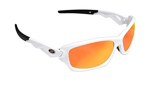 RayZor Profesionales Ligeros Blanco UV400 Deportes Wrap Running Gafas de Sol, con un Anti-deslumbramiento de Lente Espejo Rojo Iridium Revo