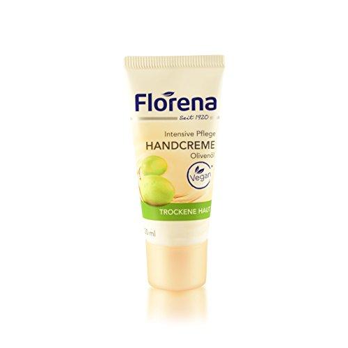 Florena Mini-Handcreme Olivenöl vegan aus kontrolliert biologischem Anbau, intensive Pflege für trockene Haut mit Pro-Vitamin B5 Reisegröße 5x 20ml