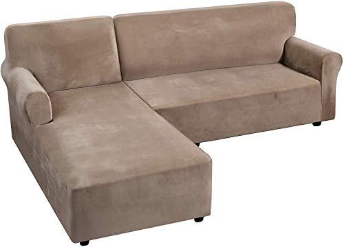 LINGKY Rich Velvet Stretch 2 Stück L-förmige Sofabezüge Anti-Rutsch-Schnittsofa Schonbezüge mit Riemen unten Luxus Dicker Samt Eck Sofa Bezug (Taupe,Large)