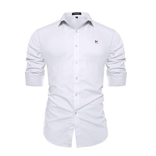 Kuson Kuson Herren Business Hemd Slim Fit für Freizeit Hochzeit Reine Farbe Hemden Langarmhemd Weiß XXL