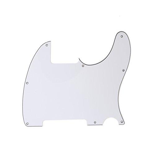 Musiclily 8 Löcher Schlagbrett Pickguard für Fender USA/Mexican Telecaster Esquire E-Gitarre,3 lagig Weiß
