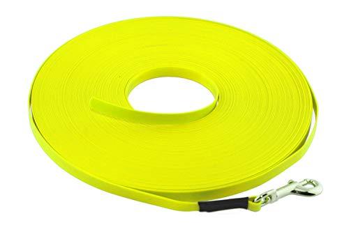 LENNIE Leichte BioThane Schleppleine, 9mm, Hunde bis 5kg, 15m lang, ohne Handschlaufe, Neon-Gelb, genäht