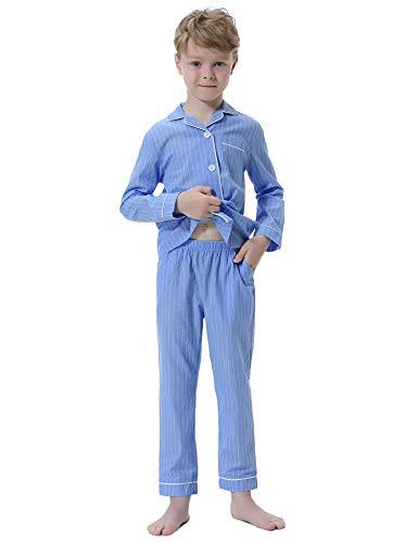 Hawiton Pijamas niños Invierno,100% algodón, Ropa de Dormir de Manga Larga,Suaves Raya Camiseta con clásico Botones Delanteros y Pantalones Largos 2 Piezas,Navideños
