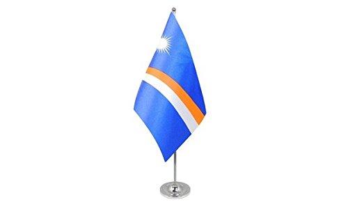 AZ FLAG Prestige TISCHFLAGGE Marshallinseln 22x15cm Metall - Republik Marshallinseln TISCHFAHNE 15 x 22 cm - flaggen