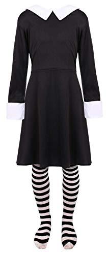 Disfraz de colegiala gótica para niñas, disfraz de miércoles de Halloween, vestido largo con cuello negro + medias a rayas (XL – 15-16 años)