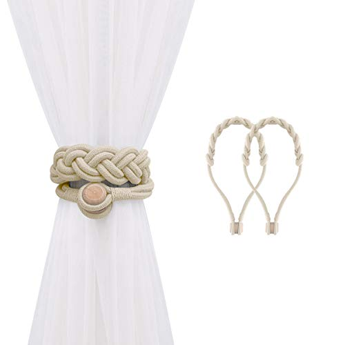 Lewondr Magnetic Window Curtain Rope Holdbacks, 2 Pieces Decorative Knitted Cord Curtain Tieback Cotton Braided Woven Rope Drapery Holder with Durable Wooden Buckle for Home Office Decor, Beige