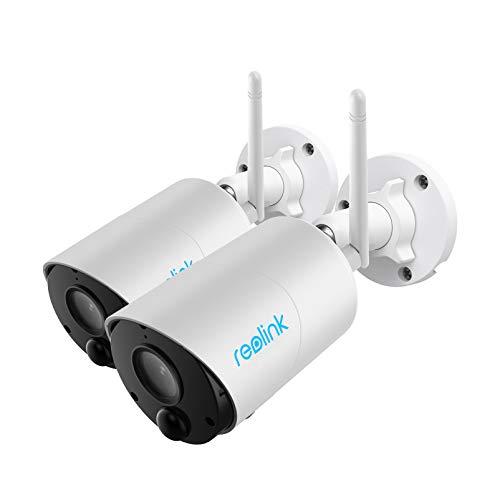 Reolink Cámara Vigilancia Exterior Sin Cables WiFi 1080P, Impermeable Batería Recargable Audio Bidireccional Detección de Movimiento PIR Visión Nocturna, Cámara IP de Seguridad, Argus Eco(2pack)