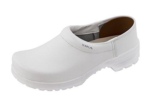 Sika 125 Comfort Robuster Clog - Breite Passform und Fußbett aus Holz - Besonders Gute Strapazierfähigkeit - Weiß - Gr. 39