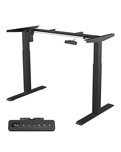 MAIDeSITe höhenverstellbarer elektrisher Schreibtisch mit starken Motoren,2 teiligen Beinen sowie auch 4 Memory-Steuerung und Kollisionschutz Funktion(Schwarz)
