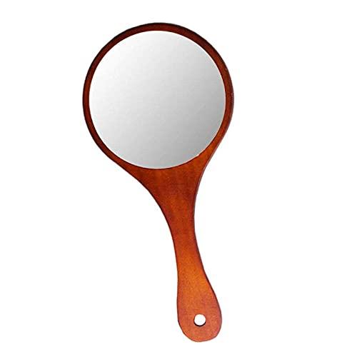 ZWWZ Espejo de Maquillaje de Madera Exquisito Antiguo marrón Oscuro Espejo de Madera de Mano Redondo