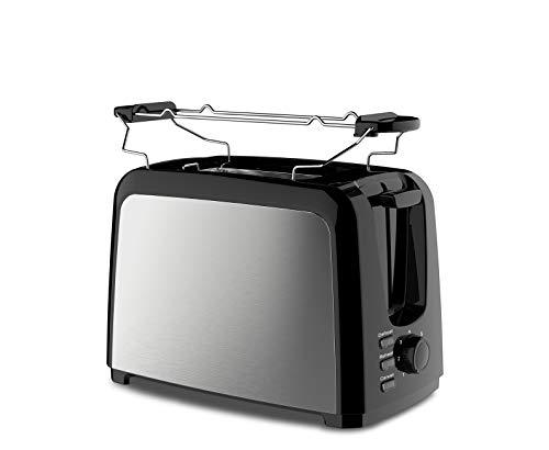 Slabo Toaster Edelstahl Automatik mit Brötchenaufsatz, Röstaufsatz, Defrost Funktion, Stopp-Taste, 5 Stufen - 750W - schwarz