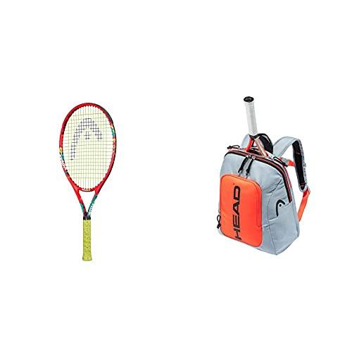 Head Novak 25 Raqueta de Tenis, Juventud Unisex, Multicolor, 8-10 años + Kids Backpack Bolsa de Raqueta, Unisex, Gris y Naranja