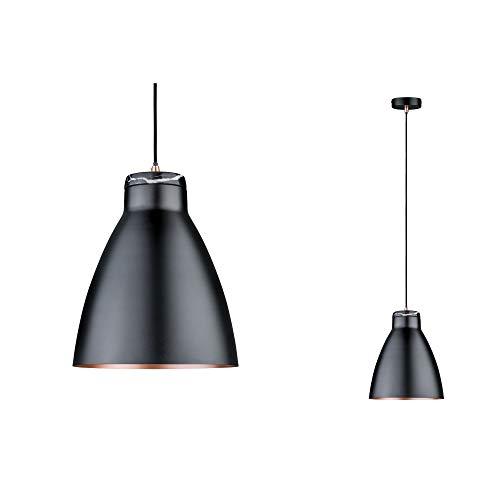 Paulmann 79609 Neordic Roald pendellampa max. 1 x 20 W hänglampa för E27 lampor taklampa m 230 V metall/marmor utan lampor, svart matt, koppar matt