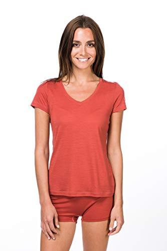 super.natural Dünnes Damen Kurzarm T-Shirt, V-Ausschnitt, Mit Merinowolle, W BASE V NECK TEE 140, Größe: M, Farbe: Hellrot/Rosa