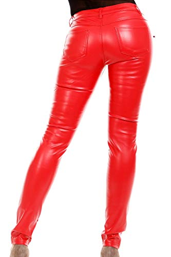 Blue Rags Damen Kunst-Lederhose Jeans Hose Röhrenhose schwarz rot Slim fit Leder-Optik (Rot, L = 38)