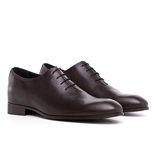 Costoso Italiano Height Increasing Brown Leather Formal Elevator Lace Up Oxford Lift Shoes for Men with 3 Inch Hidden Heel
