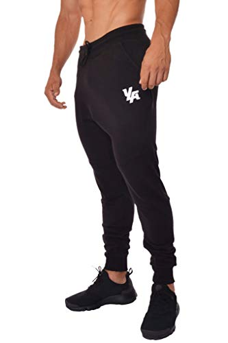 YoungLA Slim Fit Joggers for Men | French Terry Cotton Skinny Tapered Sweatpants | Gym Sports Activewear Workout Clothes 202 Black Large
