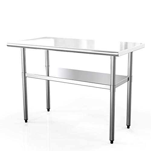 Nurxiovo Work Table Kitchen Prep Workbench Stainless 24 x 48 Commercial Prep Table for Shop Home Industrial Restaurant Food Preparation