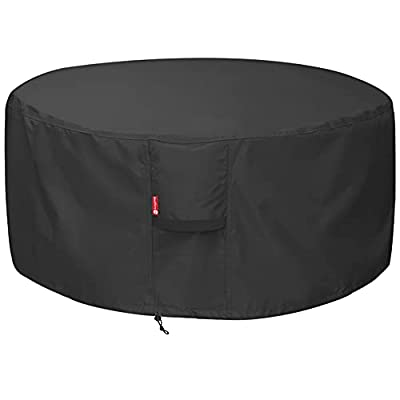 """SheeChung Fire Pit Cover - Waterproof 600D Heavy Duty Round Patio Fire Bowl Cover Black (Round - 50""""D x 24""""H)"""