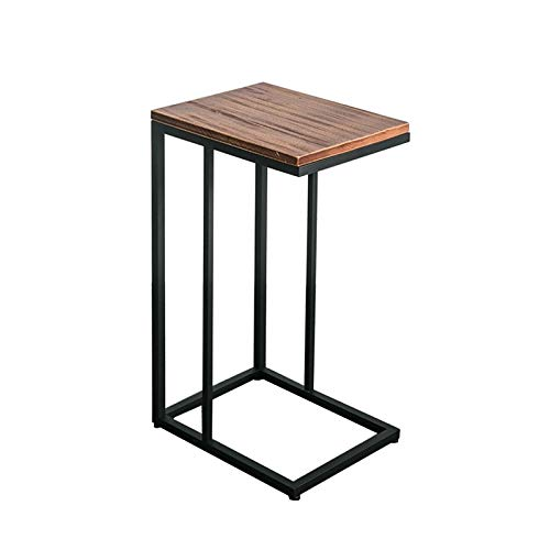 BZ-ZK Industrial Retro Side Table, 40 * 32 * 68CM C-shaped Wooden Side Table Study Bedroom Bedside Table Small Space Quality Furniture(Size:40 * 32 * 68CM,Color:Brown)