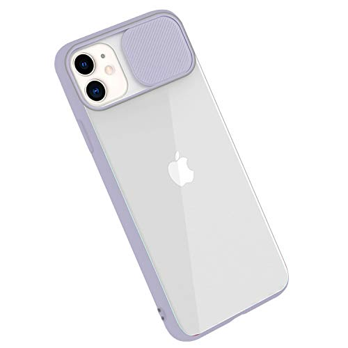 Rdyi6ba8 Funda para iPhone 11 Funda, suave silicona TPU y policarbonato duro, carcasa híbrida con cámara de protección, semitransparente, resistente a los arañazos, funda para iPhone 11 (púrpu