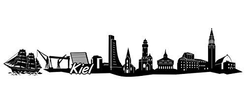 Samunshi® Kiel Skyline Wandtattoo Sticker Aufkleber Wandaufkleber City Gedruckt Kiel 120x25cm schwarz