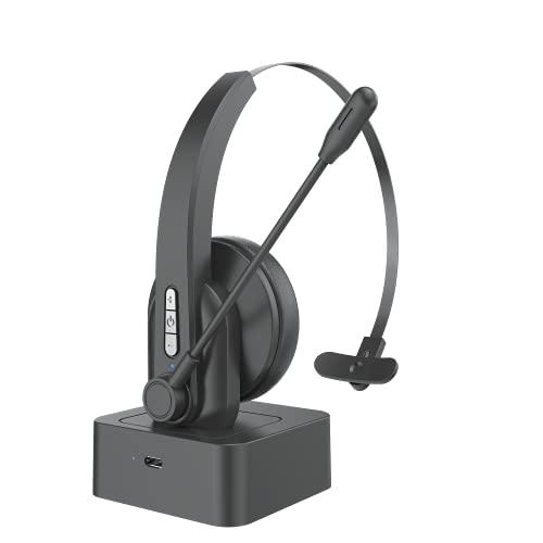 Bluetooth 5.0 Auriculares Inalámbricos con Micrófonos, Auricular Bluetooth Cascos PC con Estación de Carga Cancelación de Ruido, Compatible con PC Tableta Smartphone