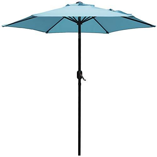 DOIFUN 7.5ft Patio Umbrella Aluminum Outdoor Umbrella Market Table Umbrellas with Push Button Tilt, Crank and 6 Sturdy Ribs for Lawn, Garden, Deck, Backyard & Pool, Turquoise