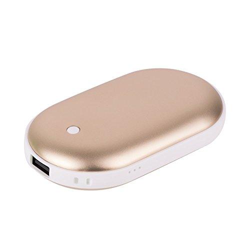 AVNTEN Wiederaufladbare Handwärmer, Portable Power Bank - Handheizung Taschenwärmer, 5200mAh Tragbar USB Energiebank für iPhone/Samsung Galaxy (Gold)