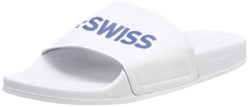 K-Swiss Unisex-Erwachsene K-Slide Badelatschen, Weiß (White/Classic Blue 117), 43 EU
