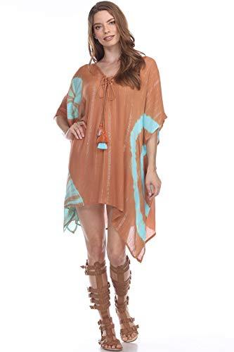 Gypsy V Neck Kaftans Maxi Long Beach Cover up Boho Dress Lounge wear Robes Swimsuit Bikini Cover Ups Casual Beach Caftan Maxi Dress (30354A, One Size)