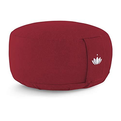 Lotuscrafts Yogakissen Meditationskissen Rund Lotus - Sitzhöhe 15cm - Waschbarer Bezug aus Baumwolle - Yoga Sitzkissen mit Dinkelfüllung - GOTS Zertifiziert - Mit Bestickung
