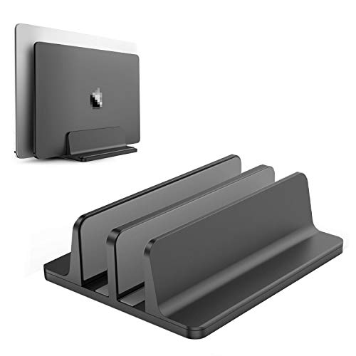 BECROWMEU Vertikaler Laptop-Ständer, doppelter Desktop-Ständer mit verstellbarem Dock (bis zu 17,3 Zoll), passend für alle MacBook/Oberfläche/Samsung/HP/Dell/Chrome-Bücher, schwarz