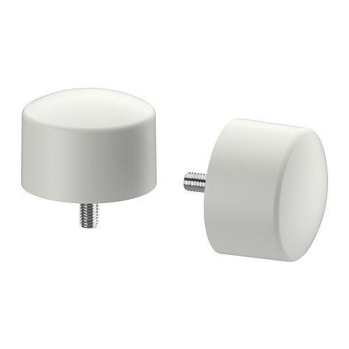 Ikea RAFFIG Endstücke für Gardinenstange; in weiß; 2 Stück