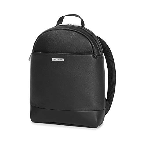 Moleskine - Classic Match Round Top Backpack, Leather Backpack with Adjustable Shoulder Straps and Luggage Strap, Size 31 x 44 x 14 cm, Black