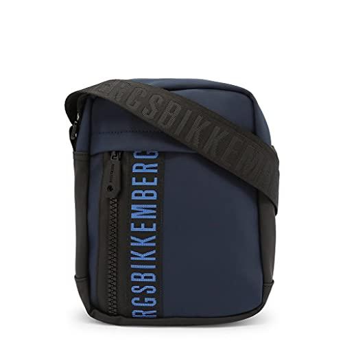 Bikkembergs Bandolera de hombre tejido engomado Gum Crossbody bag con cremallera frontal azul Bolso de hombre casual colección 2021