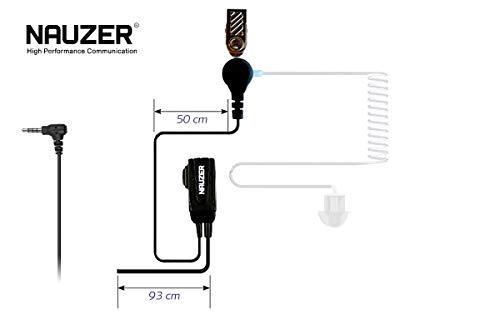 NAUZER Pin 39-SP2 Micro-Auricular Tubular Profesional con PTT Especial para ambientes ruidosos, Uso Militar, Seguridad o Industrial para Compatible con los Walkies Tetra - TETRAPOL SEPURA