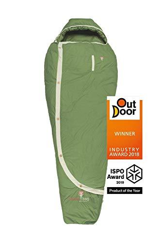 Grüezi-Bag Biopod DownWool Nature Allrounder-Schlafsack als Bett-Ersatz, 215x80cm, bis Körpergröße 185cm, Tkomf 6°C/Tlim 1°C, Packmaß Ø 19 x 35 cm
