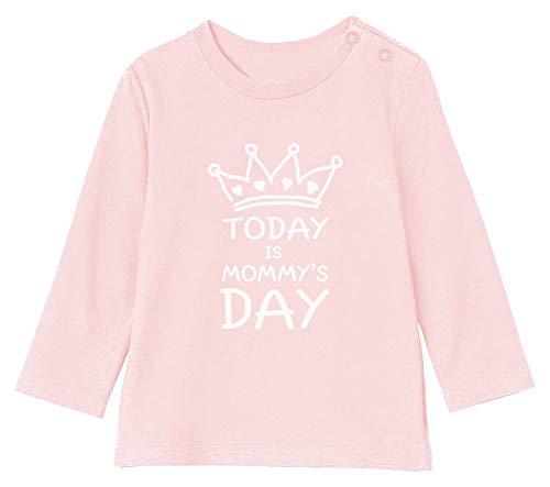 Green Turtle Aujourd'hui C'est Le Jour de Fête des mères T-Shirt Bébé Unisex Manches Longues 3-6M 60/66cm Rose Pale