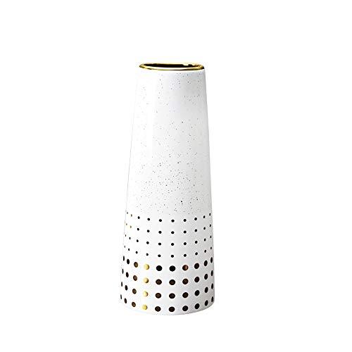 HCHLQLZ 25cm Blanco Dorado Decorativos Modernos Ceramica Jarrones de Flores para Mesa de Comedor Sala de Estar Idea Regalo para Cumpleaños Boda Navidad
