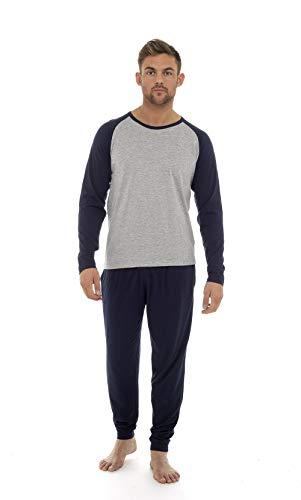 Pijama Hombre Invierno Sudadera Gimnasio 100% Algodón Mangas Largas Set Suave Cómodo Ropa de Dormir (Navy Gris, XL)