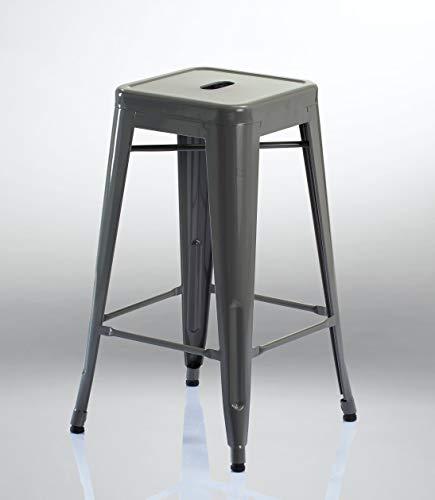 Tabouret de Bar en métal/Fer empilable Design Industriel sélection de Coleur Duhome 665D, Couleur:Gris, matière:métal
