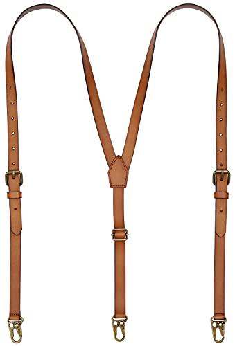 Leather Suspenders for Men Y Back Design Adjustable Suspender with 3 Metal Snap Hooks Groomsmen Gift Wedding Brown